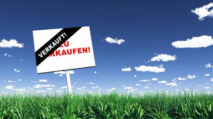Schild im Gras - Verkauft