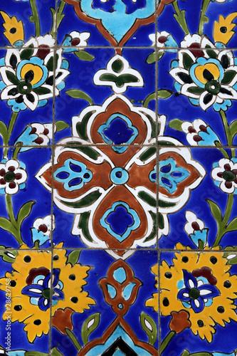 Fotobehang Dubai Colorful detail from Iranian mosque in Dubai