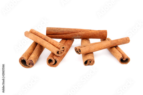Cinnamon sticks, studio isolated on white background