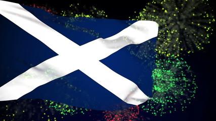 Scotland flag waving. Fireworks background. Seamless loop.