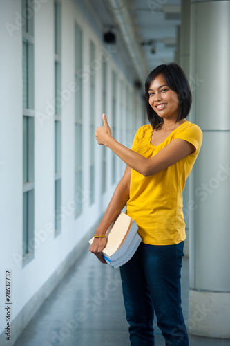 Cute College Student Thumbs Up Side