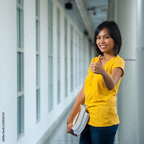 Cute College Student Thumbs Up Front