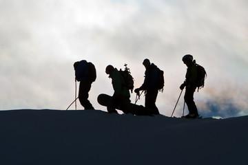 Silhouettes on the mountain range
