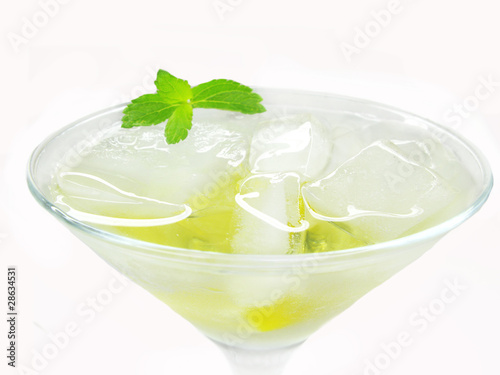 alcohol liqueur cocktail with lemon