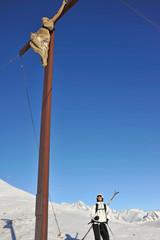 Skifahrer mit Gipfelkreuz