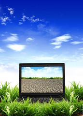 Modern laptop on green field .
