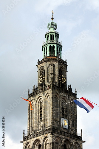 Flags at the Martini tower in Groningen in the Netherlands
