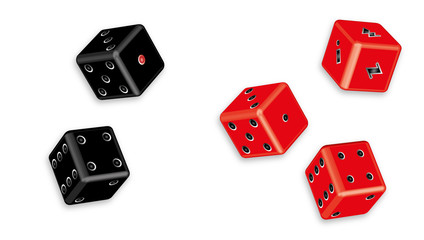 Red and black dices vector