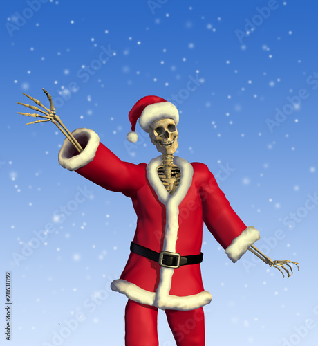 Friendly Skeleton Santa - 3D render