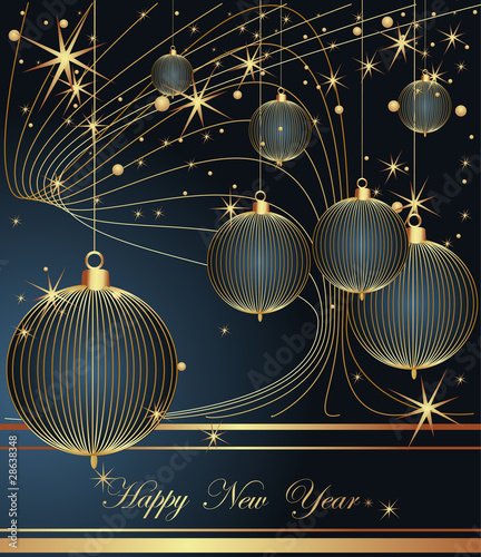Merry Christmas and Happy New Year dark blue background.