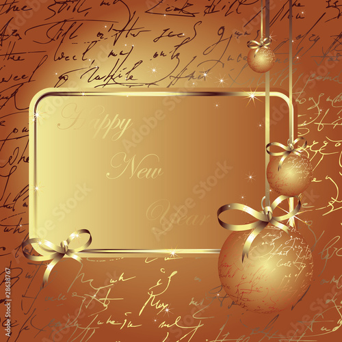 Merry Christmas and Happy New Year gold postcard