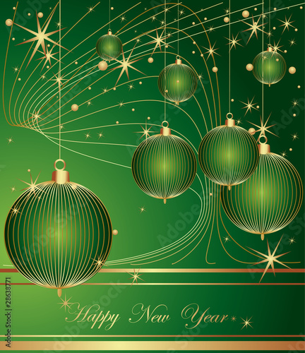 Merry Christmas and Happy New Year green background.