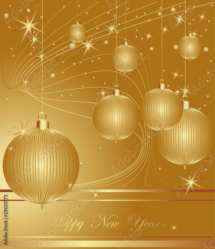 Merry Christmas and Happy New Year gold background.