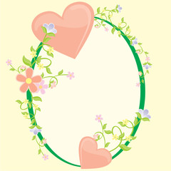 heart and flowers vector cartoon frame