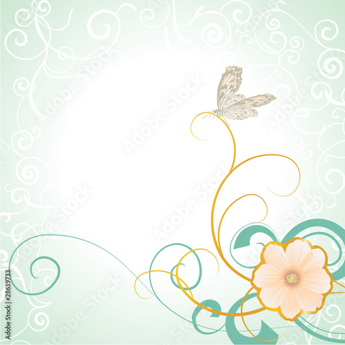 vector butterfly on flower retro image