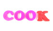 cook written in fridge magnets on white background