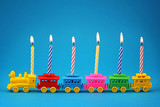 Birthday candle Train on blue background