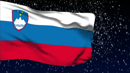 Slovenia flag waving. White snow background. Seamless loop.