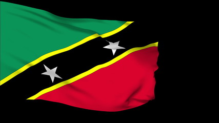 St Christopher Nevis flag slowly waving. Alpha included.