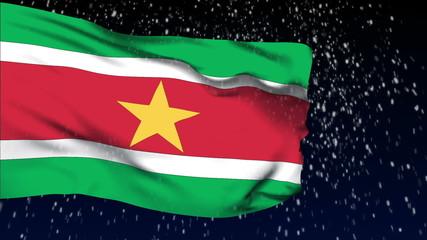 Suriname flag waving. snow background. Seamless loop.
