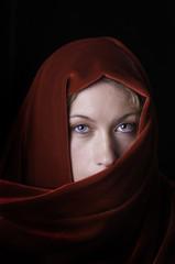 beautiful blond in red velvet shawl