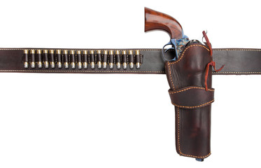 cowboy holster belt with gun and ammo
