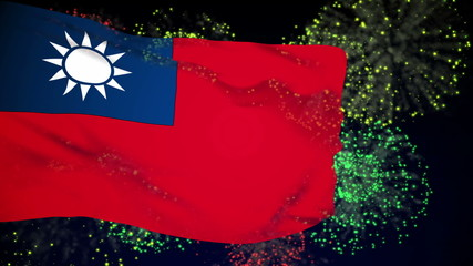 Taiwan flag waving. Fireworks background. Seamless loop.