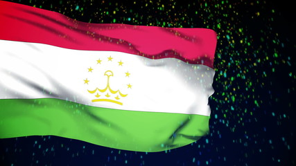 Tajikistan flag waving. snow background. Seamless loop.