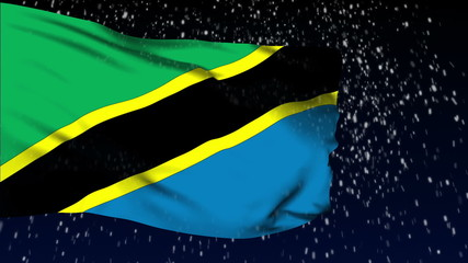 Tanzania flag waving. White snow background. Seamless loop.