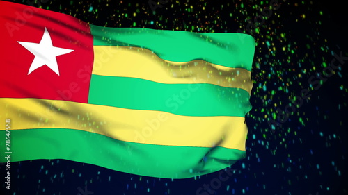 Togo flag waving. snow background. Seamless loop.