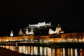 Panoramic view of Salzburg in the night