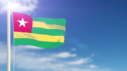 Togo flag waving. Sky background. Seamless loop.
