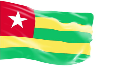 Togo flag slowly waving. White background. Seamless loop.