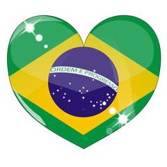Vector heart with brazil  flag texture