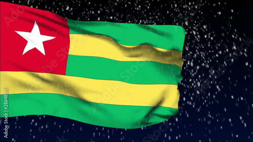 Togo flag waving. White snow background. Seamless loop.