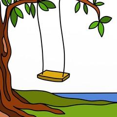 albero con altalena