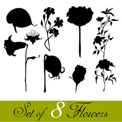 set of illustrated cute flowers for your spring design