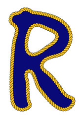 Navy Sailor-Style Rope Alphabet Letter R