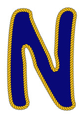 Navy Sailor-Style Rope Alphabet Letter N