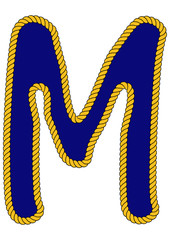 Navy Sailor-Style Rope Alphabet Letter M