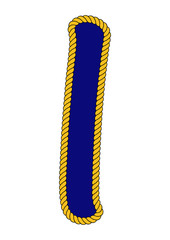 Navy Sailor-Style Rope Alphabet Letter I