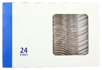 Plastic Forks in Blank Label Box