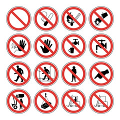 Warning signs vector icons for work safety