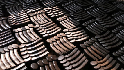 Piles of roof tiles made of pottery