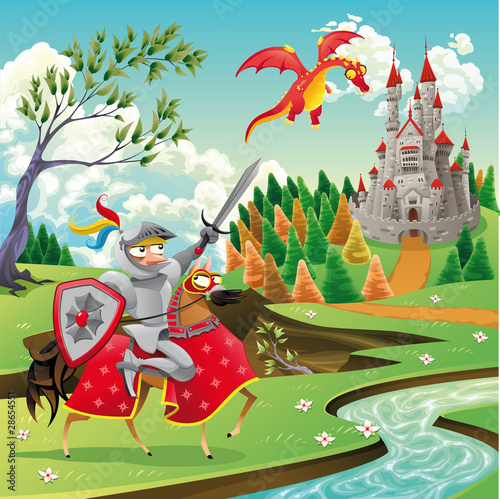 Aluminium Kasteel Panorama with castle, dragon and knight. Vector illustration
