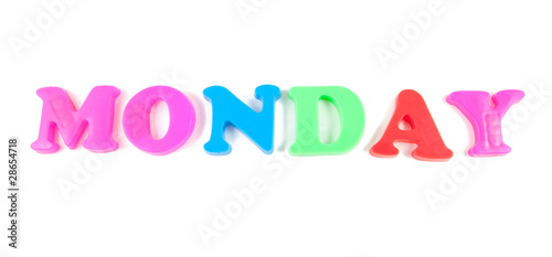 monday written in fridge magnets on white background