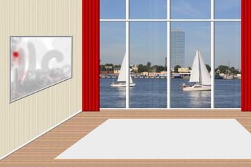 Leerer Raum mit Ausblick aufs Wasser
