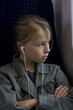 Young girl onboard a train