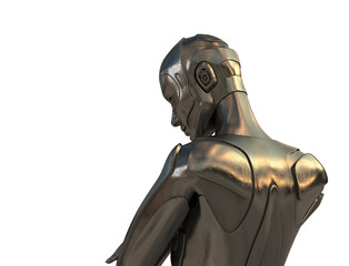 Back view of bronze robotic man
