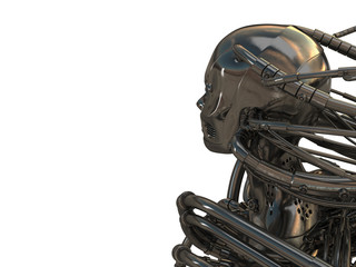 3d wired metal robot in profile isolated on white